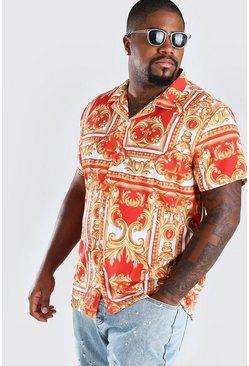 Red Big And Tall Short Sleeve Baroque Print Shirt