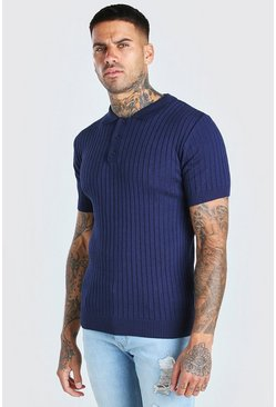 Navy Muscle Fit Ribbed Knitted Polo