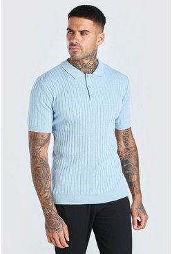 Dusty blue Muscle Fit Ribbed Knitted Polo