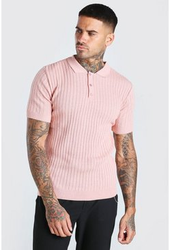 Pink Muscle Fit Ribbed Knitted Polo