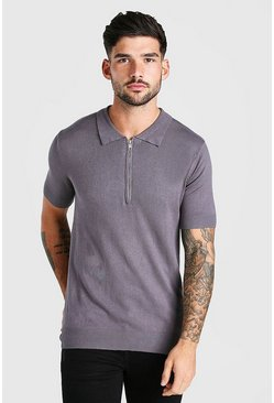 Grey Short Sleeve Half Zip Knitted Polo Shirt