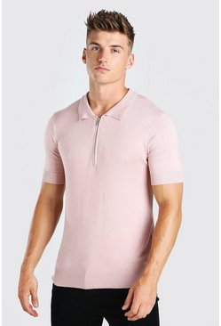 Pink Short Sleeve Half Zip Knitted Polo Shirt