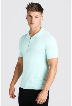 Mint Short Sleeve Half Zip Knitted Polo Shirt