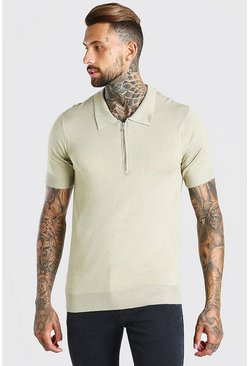 Khaki Short Sleeve Half Zip Knitted Polo Shirt