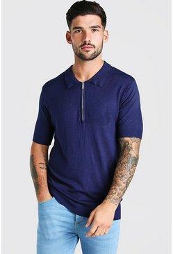 Navy Short Sleeve Half Zip Knitted Polo Shirt