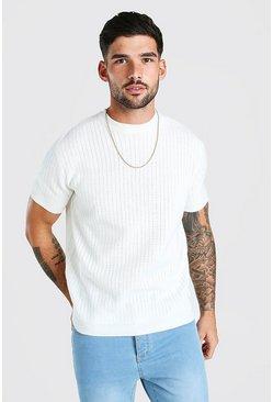 Ecru Short Sleeve Textured Knit T-Shirt