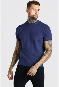 Navy Short Sleeve Textured Knit T-Shirt