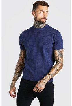 Navy Short Sleeve Textured Knit T-Shirt