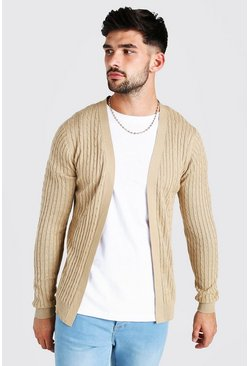 Camel Long Sleeve Cable Knit Cardigan