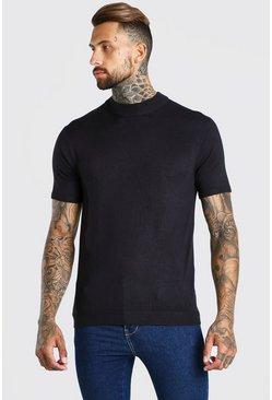 Black Short Sleeve Turtle Neck Knitted T-Shirt