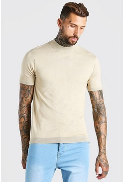 Stone Short Sleeve Turtle Neck Knitted T-Shirt
