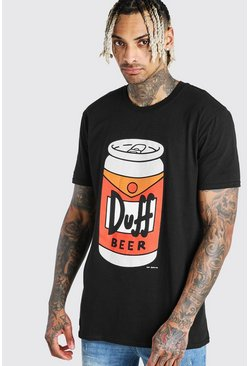 Black The Simpsons Duff Beer License T-Shirt