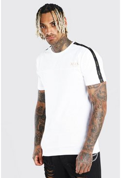 White Muscle Fit Man Gold T-Shirt With Sleeve Tape