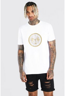 White Man Gold T-Shirt With Chest Print