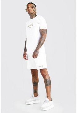 Ensemble short et t-shirt MAN Gold, Blanc