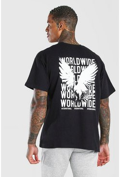 Black Oversized Front & Back Bird Print T-Shirt