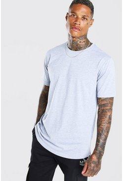Grey marl Longline Curved Hem T-Shirt