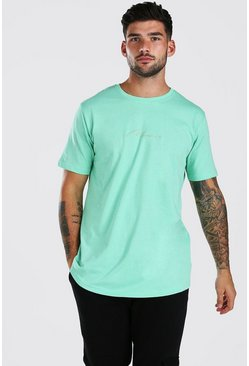 Mint MAN Signature Longline Curved Hem T-Shirt