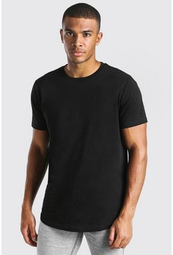 Black Longline Curved Hem T-Shirt