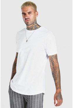 White Longline Curved Hem T-Shirt