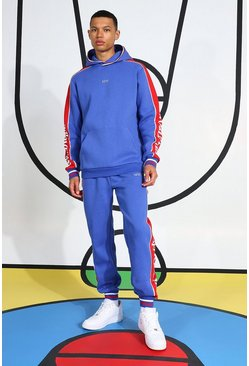 Tall Tracksuit With Side Tape And Hood Detail, Blue