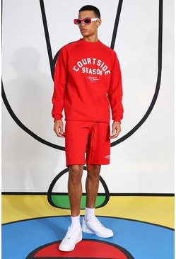 Tall Courtside Short Tracksuit, Red