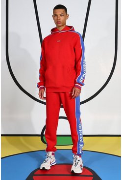 Red Tall Tracksuit With Side Tape And Hood Detail