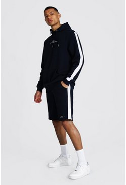 Tall Man Script Side Panel Short Tracksuit, Navy