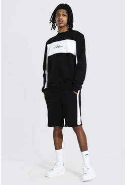 Tall - Sweat et short de survêtement color block, Black