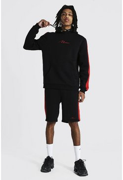 Red Tall Man Script Side Panel Short Tracksuit