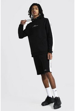Tall Man Script Side Panel Short Tracksuit, Black