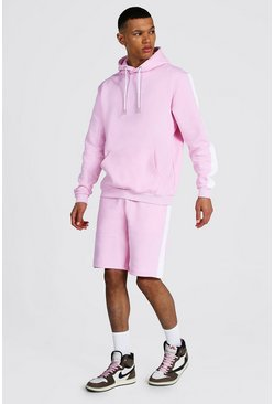 Pastel pink Tall Man Script Side Panel Short Tracksuit