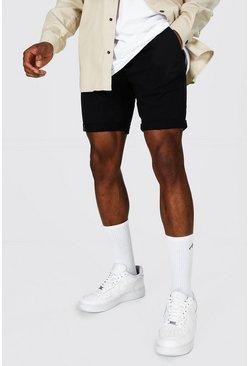 Black Super Skinny Fit Chino Short