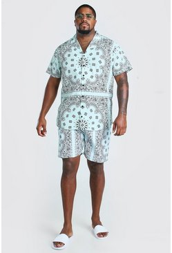 Mint Big And Tall Bandana Shirt And Short Set