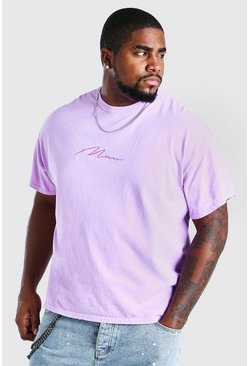 Lilac Big And Tall MAN Script Overdyed T-Shirt