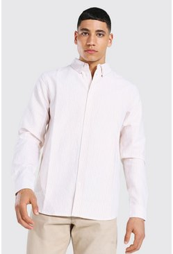 Tan Oxford Stripe Ls Regular Shirt