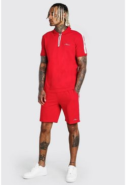Red MAN Sports Zip Polo & Short Set With Tape