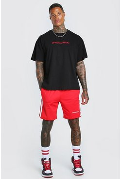 Red Oversized MAN Official T-Shirt & Short Set