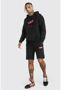 Black Official MAN Tape Print Short Tracksuit