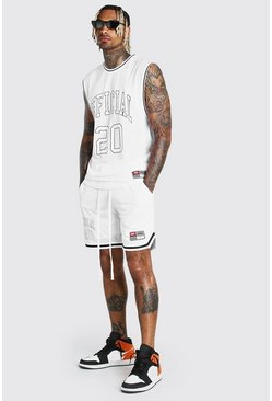 White MAN Airtex Tank & Basketball Short Set