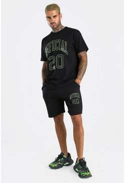 Ensemble t-shirt et short imprimé Official Season, Noir