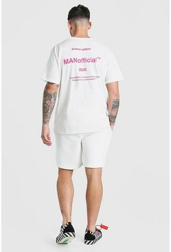 Ensemble t-shirt et short imprimé au dos MAN Official, Blanc