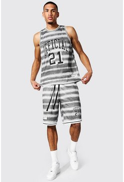 Tall - Ensemble basketball tie-dye avec short, Grey