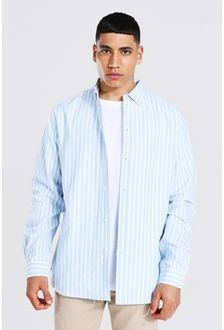 Blue Oxford Stripe Ls Oversized Shirt