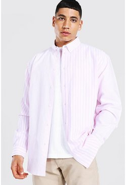Pink Oxford Stripe Ls Oversized Shirt