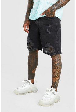 Charcoal Loose Fit Destroyed Hem Denim Shorts