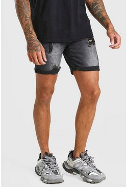 Skinny-Fit Jeansshorts mit Stretch-Anteil in Destroyed-Optik, Verwaschenes schwarz