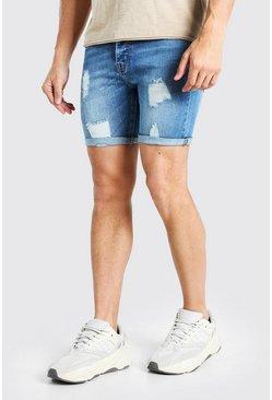 Light blue Skinny Stretch Distressed Jean Short