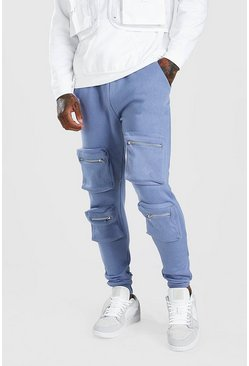 Dusty blue Front 3D Pocket Cargo Jogger