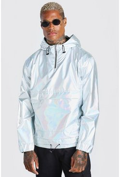 Silver Metallic Sliver Overhead Cagoule